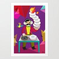 DJ Moustache  Art Print