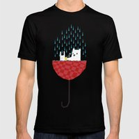 Umbrella Bath Time! Mens Fitted Tee Black SMALL