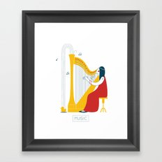 Woman Harpist Framed Art Print