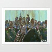Earth-tone Philly Skylin… Art Print