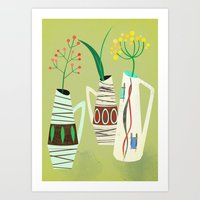 Three Mid Century Vases Art Print