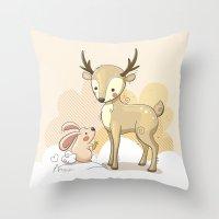 the deer & rabbit Throw Pillow