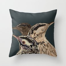 Digital Watercolor Birds Throw Pillow