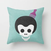 Skull With Afro. Throw Pillow