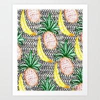 Pineapple And Banana Art Print