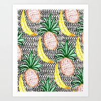 Pineapple and Banana Art Print