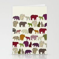 bear wolf geo party Stationery Cards