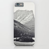 iPhone & iPod Case featuring Glacier Mountain Lake Black and White by Kurt Rahn