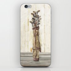 Antique Golf Clubs Watercolor Print iPhone & iPod Skin