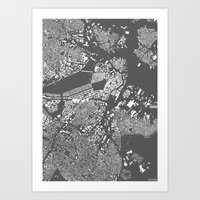 boston Art Prints featuring Boston by Maps Factory