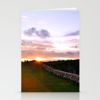 Couple walking at sunset Stationery Cards