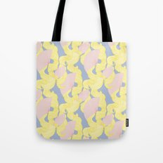 Spotted Fan & Trailing Hair // Pink & Yellow Pastels Tote Bag