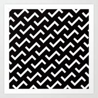 B/W S shape pattern Art Print