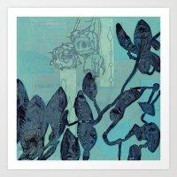 Indigo Vines Art Print