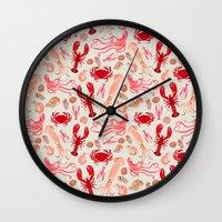 Crustaceans sea life illustration by Andrea Lauren  Wall Clock