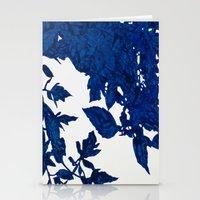 Royal Blue Leaves Stationery Cards