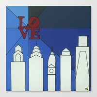 Blue LOVE Shine Canvas Print