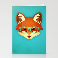 Hipster Fox: Azure Stationery Cards