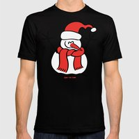 Christmas Snowman and Children Mens Fitted Tee Black SMALL