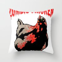 All Fear The Zombie Chicken! Throw Pillow