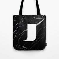 Black Marble - Alphabet J Tote Bag