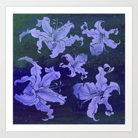 night lilies Art Print