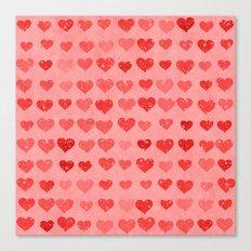 Pink Valentines Love Hearts Canvas Print