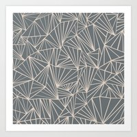 Ab Fan Grey And Nude Art Print