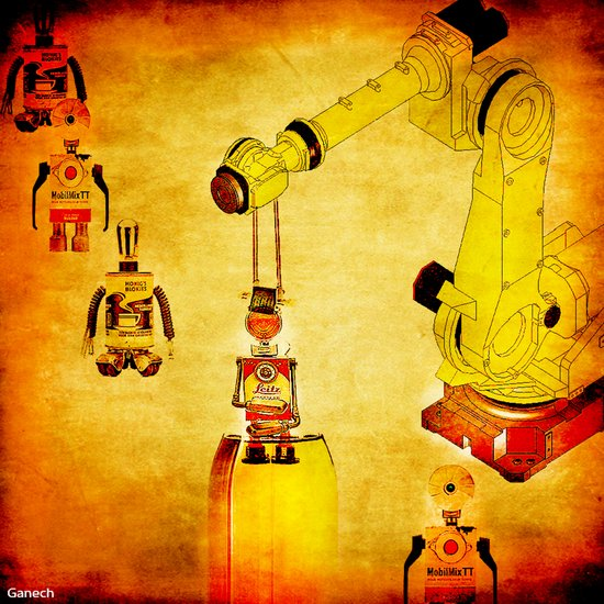 Oiling of robots Art Print