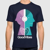 Good Vibes Mens Fitted Tee Navy SMALL