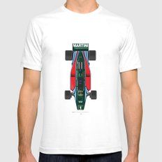 Outline Series N.º2, Mario Andretti, Lotus 80-Ford 1980 White SMALL Mens Fitted Tee