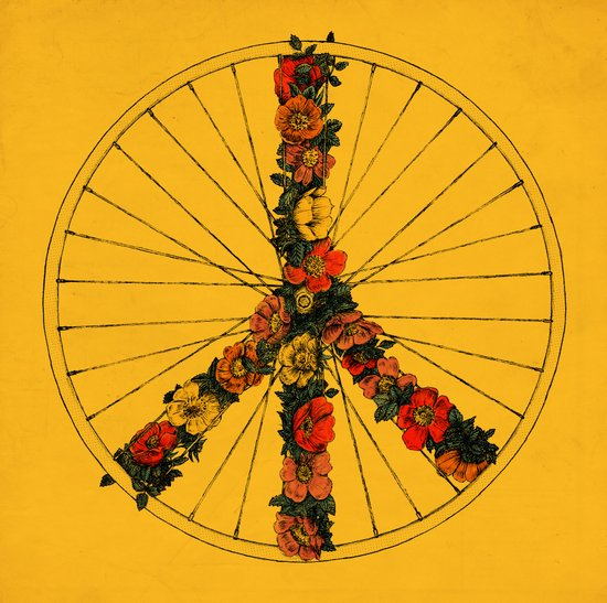 Peace & Bike (Colors) Art Print