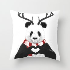 Xmas panda Throw Pillow
