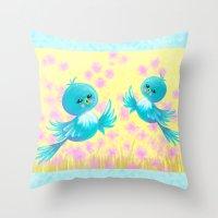 Bluebirds On My Mind Throw Pillow
