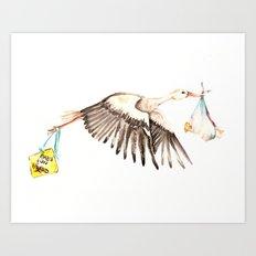 Baby on Bird Art Print