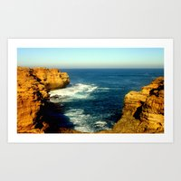 As the sunsets over the Limestone Cliffs Art Print