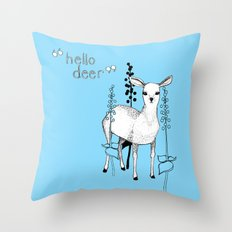 hello deer! Throw Pillow
