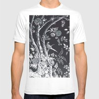 Peacock Tree Denim Mens Fitted Tee White SMALL