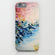 PARADISE DREAMING Colorful Pastel Abstract Art Painting Textural Pink Blue Tropical Brushstrokes iPhone 6 Slim Case