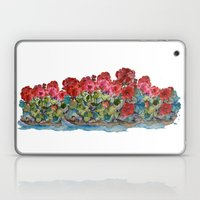 Red Geraniums painting Laptop & iPad Skin