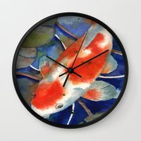 Koi art, koi painting, watercolor koi, fish art, koi tattoo Wall Clock