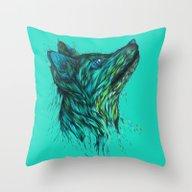 Sea Fox In Aqua Throw Pillow