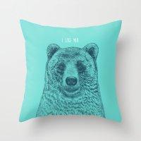 I Like You (Bear) Throw Pillow