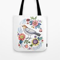 Romantic singing bird with flowers Tote Bag