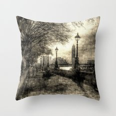 River Thames Path Throw Pillow