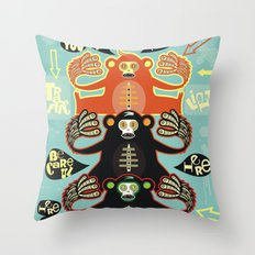 Traffic light monkey Throw Pillow