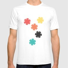 #21 Poker Chips SMALL Mens Fitted Tee White