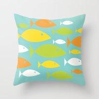 School Of Fish Variation… Throw Pillow