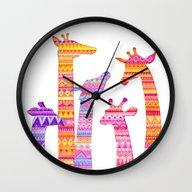 Giraffe Silhouettes In C… Wall Clock
