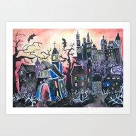 Art Print featuring WELCOME To HALLOWEENVILL… by Pumpkinstrudel Studi…